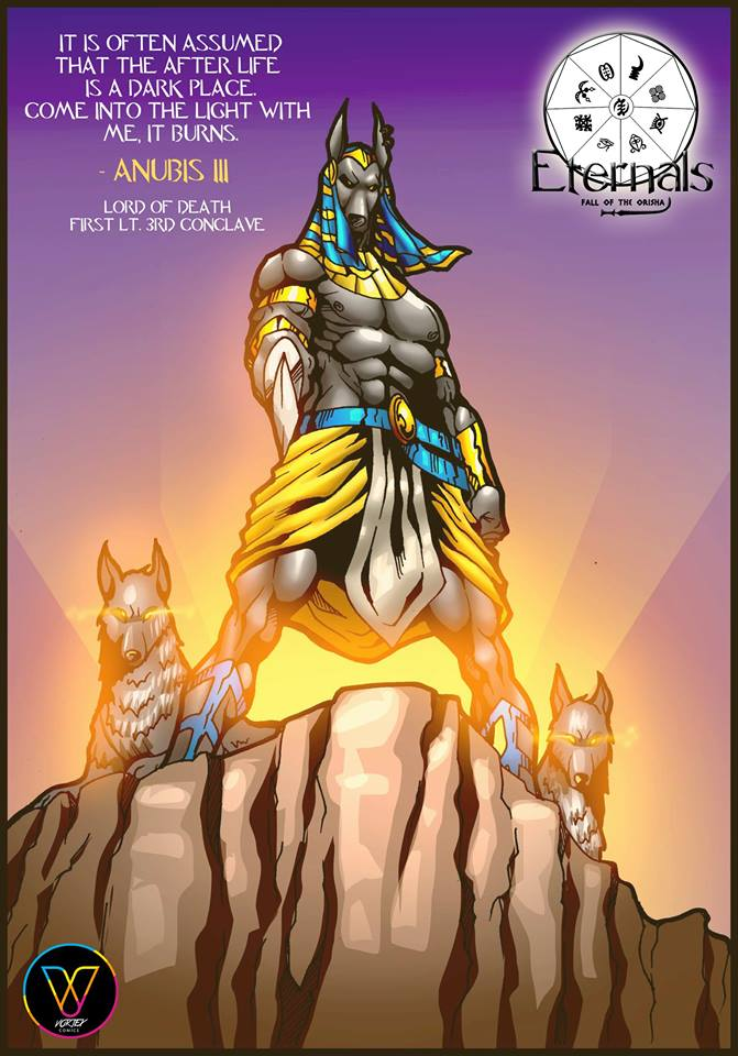 eternals fall of the orisha cover featuring Anubis and his dogs