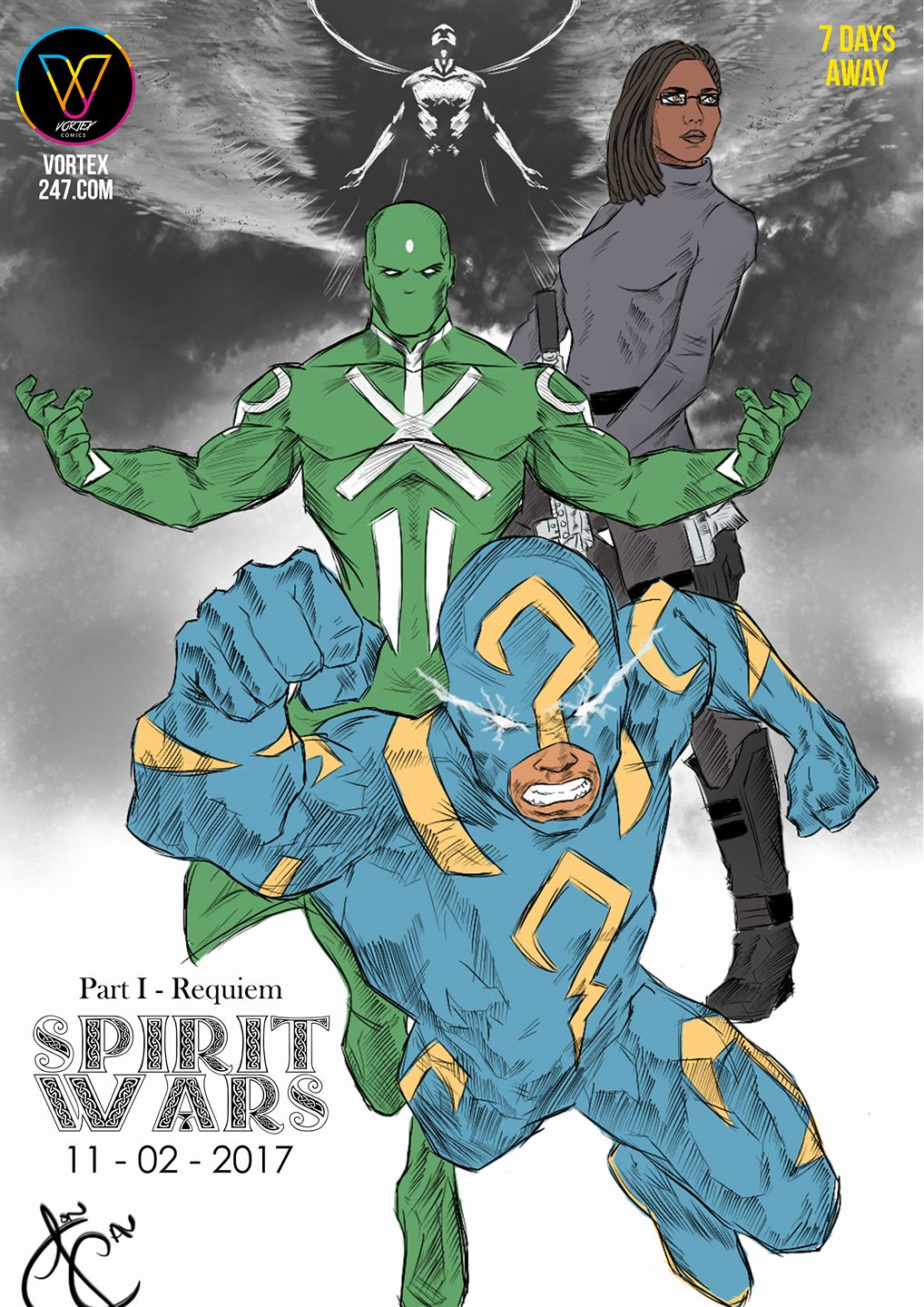 Spirit Wars poster featuring June 12, Strike Guard, Badgais and Moriach. Published by Vortex Comics with art by John Cavanaugh