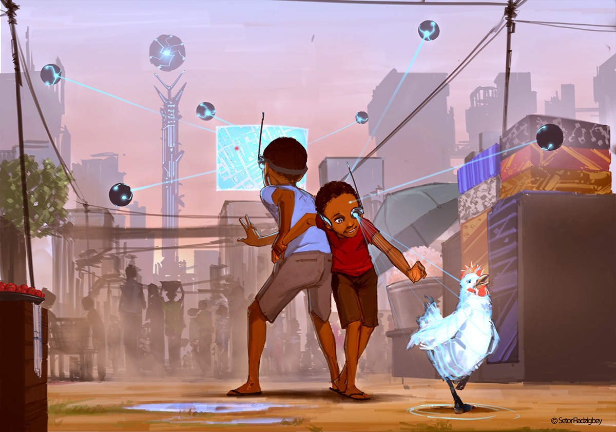 Two boys scanning their environment with sci-fi tech. Featured on Nubiamancy