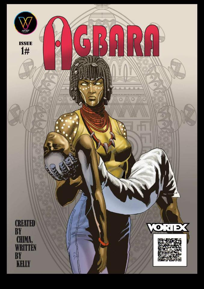The cover of the first issue of Agbara, an African comic about a female angel's demise on earth because of her refusal to participate in a war between gods and demons.