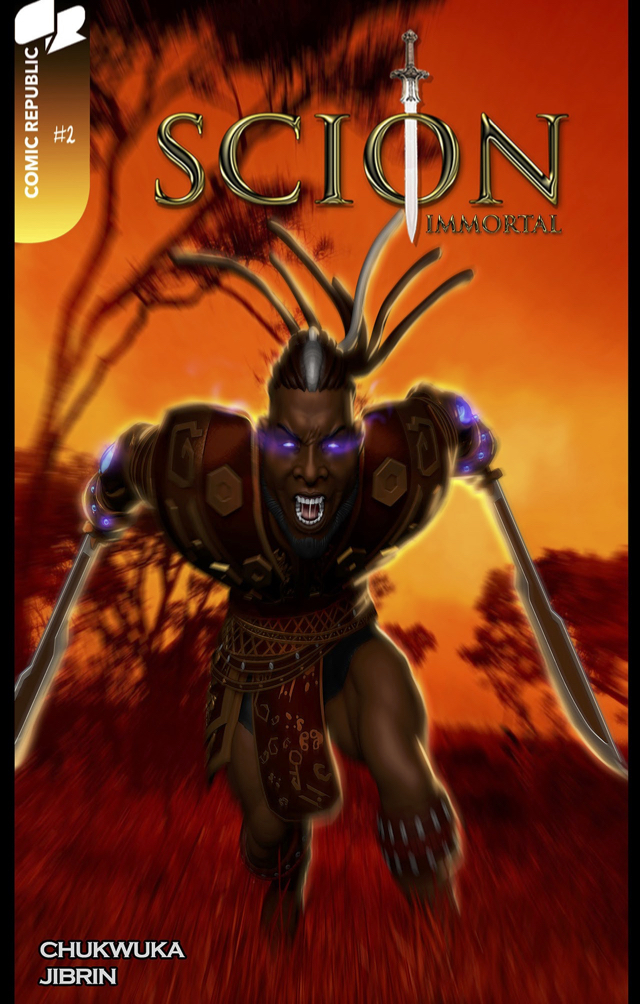 Alternate cover for Scion: Immortal #2 with Alaric, the protagonist. Scion is an African comic published by Comic Republic