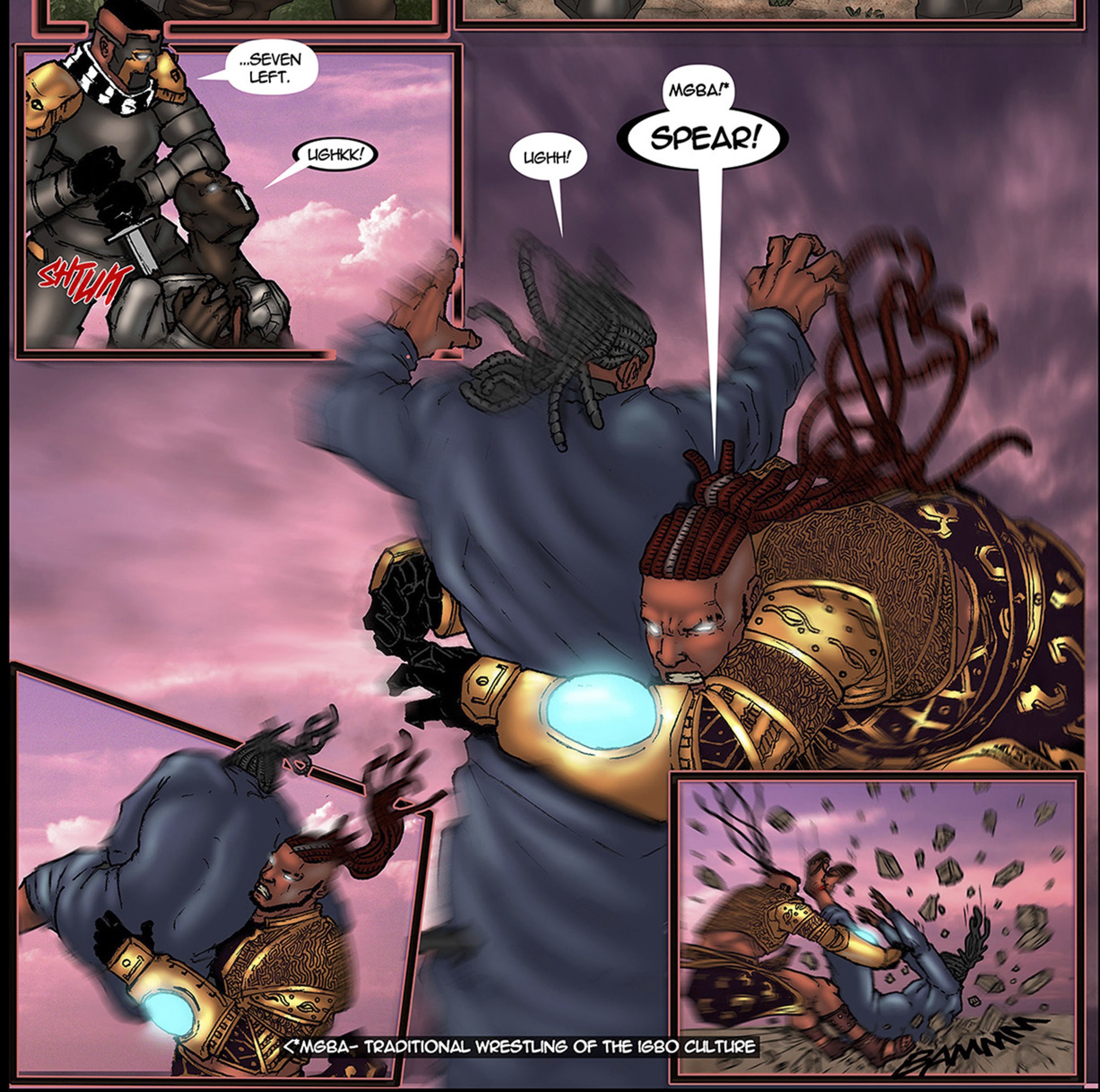 Alaric fighting attackers with the Mgba martial art style in this African Comic, Scion: Immortal published by Comic Republic
