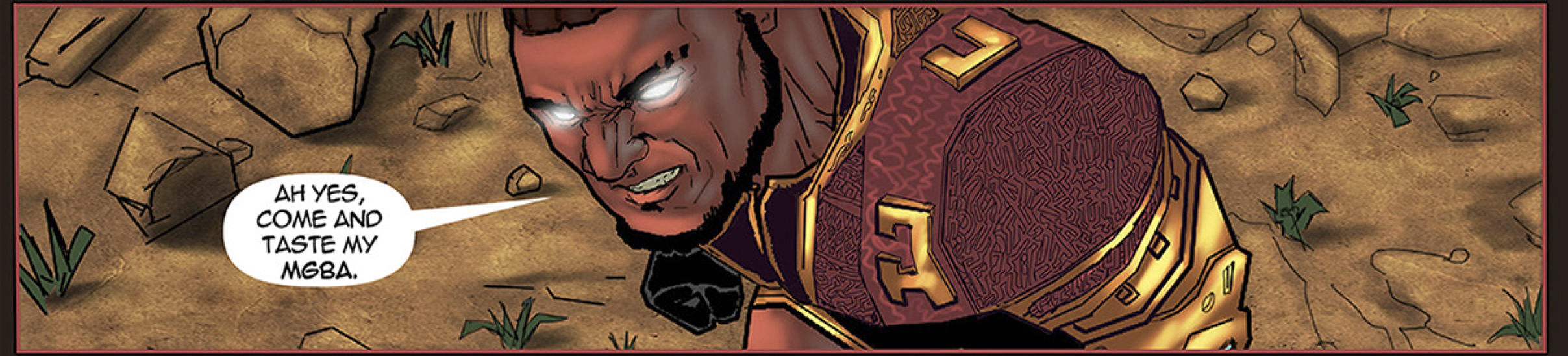 Alaric asking his attackers to come and taste his fighting style in the African comic Scion: Immortal