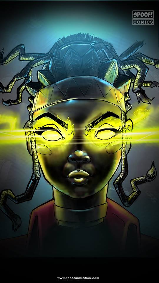 Jinx comic cover by Spoof Comics, an African comic publisher. The cover depicts a godly lady with spider like dreadlocks and a golden glow in her eyes.
